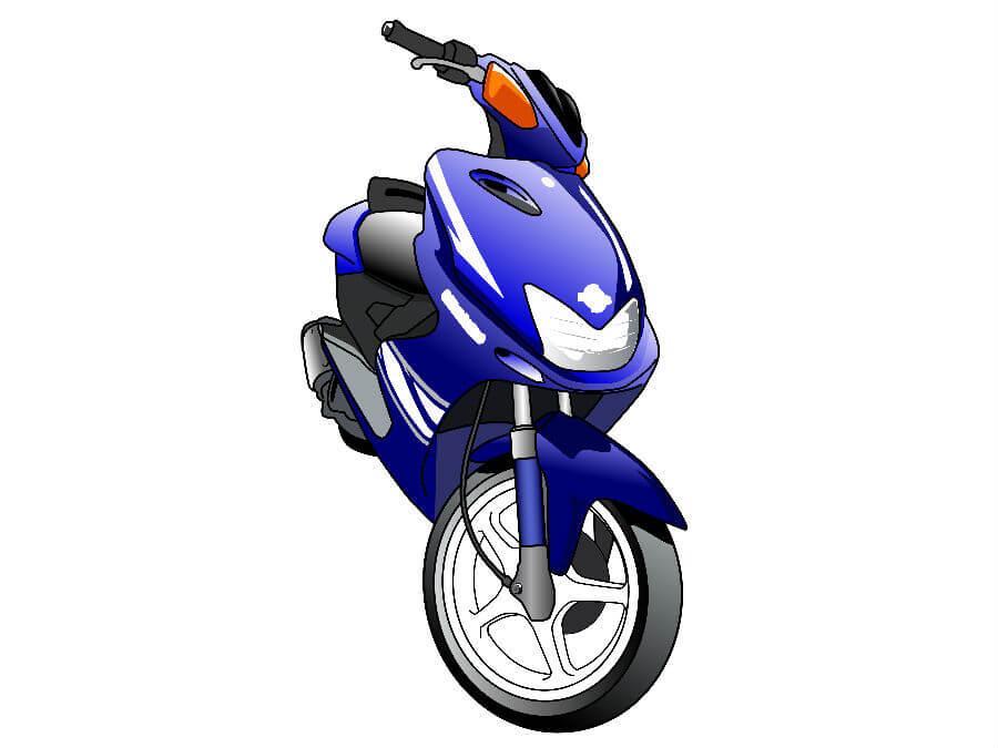 青いスクーター